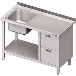 Stół ze zlewem jednokomorowym z dwiema szufladami i półką STALGAST 1300x600x850 lewy