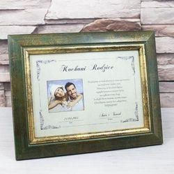 Certyfikat w ramce ze zdjęciem i dedykacją - Podziękowanie dla Rodziców