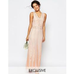 Maya Vintage Embellished Maxi Dress - Pink