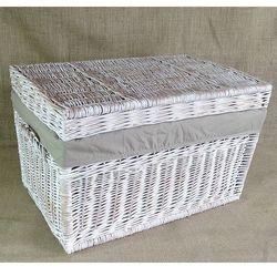 Kufer płaski biały przecierany z obszyciem szarym ( 4 wymiary )
