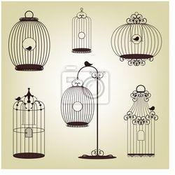 Plakat zestaw starych klatek ptaków