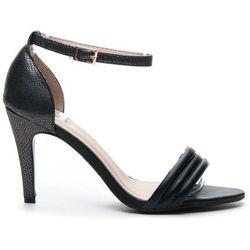 Efektowne subtelnbe sandałki na szpilce - czarny