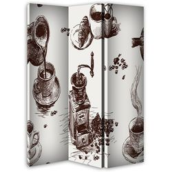 Zestaw kawowy, Parawan ozdobny dwustronny na płótnie - Canvas - Dwustronny