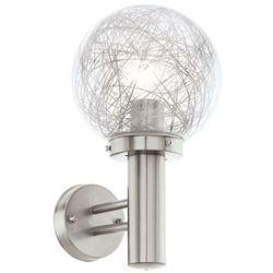 Zewnętrzna LAMPA ścienna NISIA 1 93366 Eglo metalowa OPRAWA do ogrodu IP44 outdoor kula stal aluminium przezroczysty