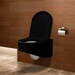 vidaXL Miska WC podwieszana Czarna z białymi elementami 55x35x33,5 cm Darmowa wysyłka i zwroty