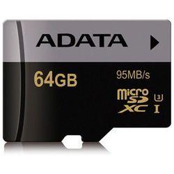 Karta MicroSD ADATA Premier Pro 64GB UHS-1/U3/CL10 (AUSDX64GUI3CL10-R) Darmowy odbiór w 20 miastach!