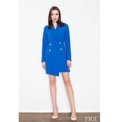 Niebieska Szykowna Sukienka Płaszczowa ze Złotymi Guzikami