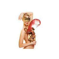 Foto naklejka samoprzylepna 100 x 100 cm - Piękna młoda kobieta z karnawałowe maski na twarz