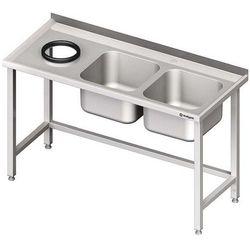 Stół ze zlewem dwukomorowym z otworem na odpadki STALGAST 1700x700x850 prawy
