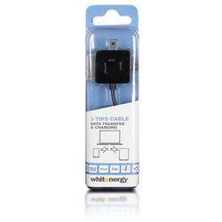 Whitenergy Kabel do przesyłu danych | Typ : Uniwersalny | Złącze A : USB 2.0 M | Złącze B : micro USB /mini USB /iPhone4 | Długość : 100cm | Czarny