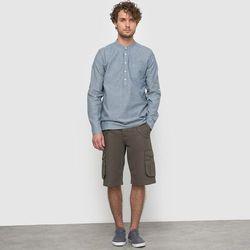 Koszula z dzianiny chambray w drobne groszki