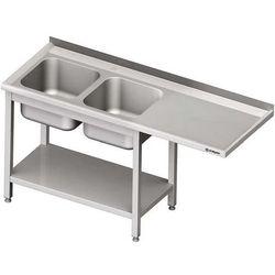 Stół ze zlewem dwukomorowym i miejscem na urządzenie STALGAST 2200x700x900 lewy