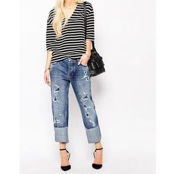 M.i.h Jeans Phoebe Boyfriend Jeans With All Over Rips - Blue
