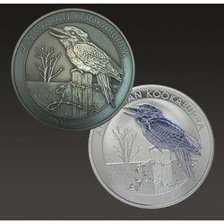Zestaw monet uszlachetnianych - Australijska Kookabura 1 uncja srebra