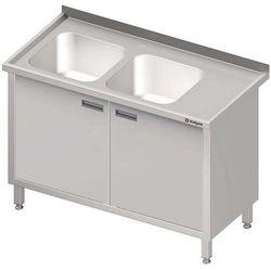 Stół ze zlewem dwukomorowym z szafką STALGAST 1200x600x850 lewy