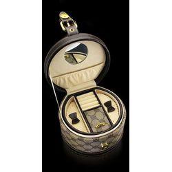 okrągły kuferek kasetka na biżuterię