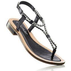 Sandały skórzane bonprix czarny