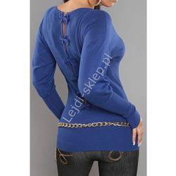 Niebieski sweter nietoperz z kokardkami na plecach | swetry damskie