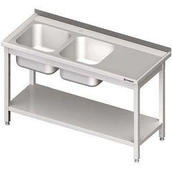 Stół ze zlewem dwukomorowym z półką STALGAST 1800x600x850 lewy