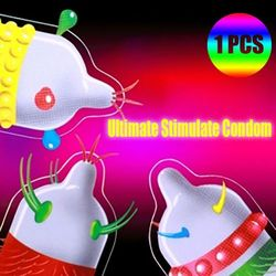 Baobo 3 Pieces Bob Alien Condom Ribbed Bumped Spike Threads Bizarre Condom For Honry Men Adult Sex Products free shipping