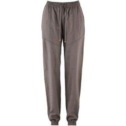 Spodnie lniane bojówki bonprix brązowy melanż