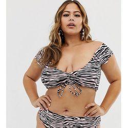 5f4de1051f553a Boohoo Plus exclusive high waist bikini bottoms in pink animal - Multi