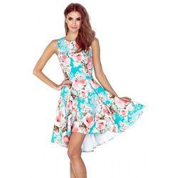 1a46ce6de9 148-1 Sukienka z dłuższym tyłem - KWIATY BRZOSKWINIOWE NA NIEBIESKIM TLE L