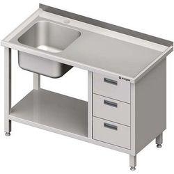 Stół ze zlewem jednokomorowym z trzema szufladami i półką STALGAST 1000x700x850 lewy