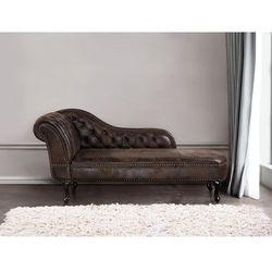 Sofa brazowa - kanapa – szezlong – chesterfield – zamsz ekologiczny - NIMES