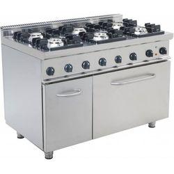 Kuchnia gazowa z piekarnikiem elektrycznym GN 2/1 | 6 palników