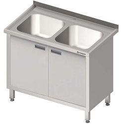 Stół ze zlewem dwukomorowym z szafką STALGAST 1000x700x850