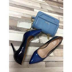 LU BOO czarno-niebieskie szpilki lakierowane ombre szpic - niebieski