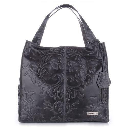 f77889f6a76fa VITTORIA GOTTI Made in Italy Duża Torba Skórzana Shopperbag XXL w Tłoczone  Wzory Szara (kolory)