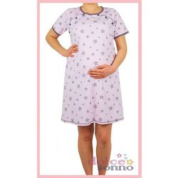 Koszula nocna ciążowa i do karmienia -Gwiazdki Różowe