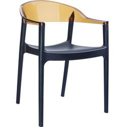 Designerskie krzesło z podłokietnikami do jadalni Carmen czarne bursztynowe