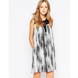 See U Soon Shift Dress with Mesh Panel in Mono Print - Black