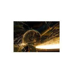 Foto naklejka samoprzylepna 100 x 100 cm - Ostrzenia i cięcia żelaza przez maszynę dysku ściernego