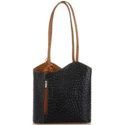 4fb3e551a14ac Włoskie Torebki Skórzane firmy Genuine Leather Uniwersalne i na co dzień  Czarne z rudym (kolory. panitorbalska.pl