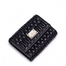 Krótki skórzany portfel damski Czarny