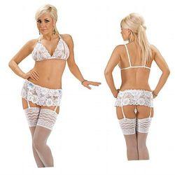 Sexy komplet z białej koronki 3 częściowy XL