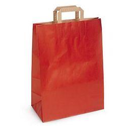 Torba papier kraft prążkowany, czerwona, płaski uchwyt, 450x490x150 mm, nadruk 2 strony, 1 kolor