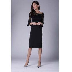 472b980b suknie sukienki mala czarna dopasowana sukienka z naszywana koronka ...