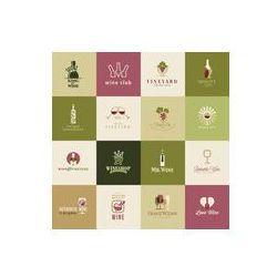 Foto naklejka samoprzylepna 100 x 100 cm - Zestaw ikon dla wina, winiarnie, restauracje i sklepy z winem