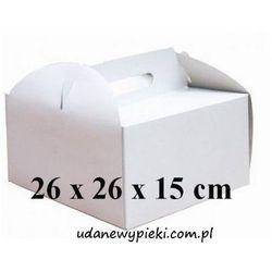 KARTON PUDEŁKO NA TORT BIAŁY Z UCHWYTEM 26x26x15cm