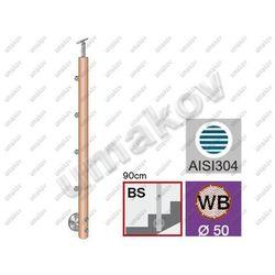 Drewniany słupek BUK(BEECH) D50mm, 4xd12mm, v=90cm