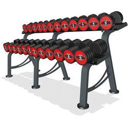Zestaw hantli żeliwnych gumowanych 5-32,5 kg ze stojakiem Marbo Professional - czerwony