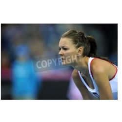 Plakat KRAKOW, POLAND - FEBRUARY 7 2015: Agnieszka Radwanska during Fed Cup tennis cup in Poland