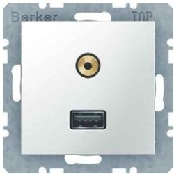 Berker B.3 / B.7 GNIAZDO USB / 3,5 mm audio