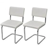 Krzesła jadalniane x2 Nowoczesne Sztuczna skóra Białe Zapisz się do naszego Newslettera i odbierz voucher 20 PLN na zakupy w VidaXL!