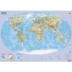 Świat mapa ścienna fizyczno-polityczna i konturowa 1:60 000 000 Demart